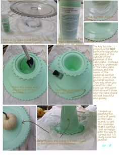 faux jadeite cake stand - Martha Stewart Pea Shoot paint