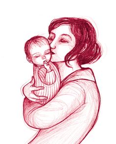 Noemi Villamuza Love Mom, Mothers Love, Happy Mothers Day, Mother And Child, Pictures To Draw, Line Drawing, Art Tutorials, Watercolor Art, Illustration Art