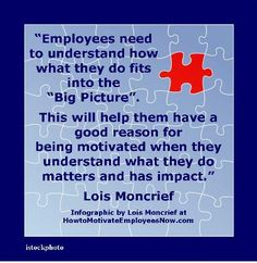 """Motivation Quotation by Lois Moncrief. To increase employee motivation ensure employees understand how what they do  impacts the company's """"Big Picture"""". Link to article on how managers can raise the performance achievement of employees."""