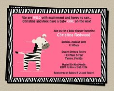 Zebra Pink Baby Shower Invitations for girls by TheInviteLadyShop, $7.00 Shower Party, Baby Shower Parties, Baby Showers, I'm Pregnant, Baby Cards, Baby Fever, Baby Shower Invitations, Baby Baby, Baby Ideas