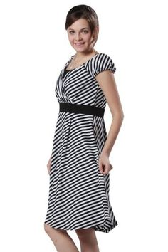 a379c44a0b0f6 Sweet Mommy Stripe Maternity and Nursing Half Sleeve Dress at Amazon  Women's Clothing store: