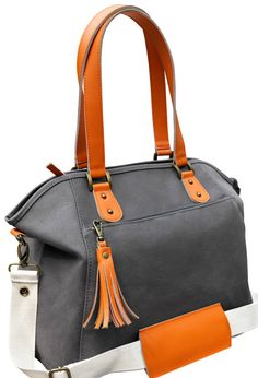 Grey Canvas Orange Leather Trimmed Stylish Tote Diaper Bag, Canvas Lining, Eco-Friendly, Two Foil Insulated Bottle Holders, Changing Pad  Six