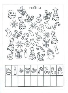 Vánoční počítání Preschool Christmas Activities, Christmas Worksheets, First Day Of School Activities, Educational Activities For Kids, Preschool Worksheets, Christmas Crafts For Kids, School Fun, Preschool Activities, Fine Motor Skills Development