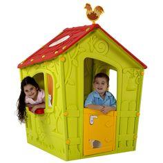 Casa delle favole  Simpatica casetta in robusto materiale per esterno. Dal design fiabesco per i giochi in giardino. Ha due finestre e porta apribile.  Dimensioni: cm.110x110x145h  Età consigliata: da 2 a 7 anni.  Prezzo €98,00