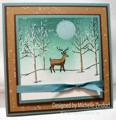 White Christmas Deer Stampin' Up! Card created by Michelle Zindorf.  Check out how to get the complete tutorial free.