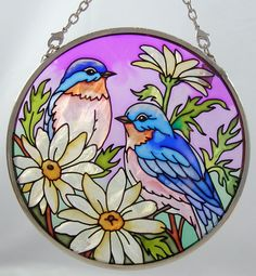 Bluebirds and Daisies Stained Glass - Cockatoo Creations Stained Glass Paint, Stained Glass Flowers, Stained Glass Designs, Stained Glass Projects, Stained Glass Patterns, Glass Painting Patterns, Glass Painting Designs, Mandala Painting, Mosaic Art