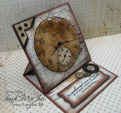Sense of Time Stamp Set - Easel Card by SandiMac - Cards and Paper Crafts at… Z Cards, Easel Cards, Pop Up Cards, Stampin Up Cards, Masculine Birthday Cards, Birthday Cards For Men, Masculine Cards, Fancy Fold Cards, Folded Cards