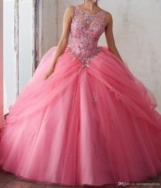 Stunning Beaded Crystal Pink Quinceanera Dresses 2017 Ball Gowns Tulle Sweet 16 Dress Corset Formal Dress For 15 Year Prom Pageant Gown Dress For 2015 Dress For Ball From Normanwedding, $150.76| Dhgate.Com