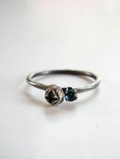 "silver ""Eucalyptus Bud"" ring with London blue topaz, handmade by Galit Barak"