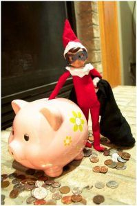 Rich Elf Christmas Decor With Piggy Bank