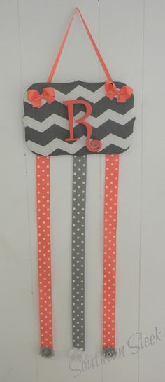 Coral & Gray Hair Bow Holder Grey Chevron on Etsy, $25.00