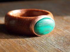 Men Malachite cabochon Copper bezel Mahogany wood by SnowDaysInn