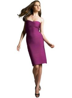 Bqueen Strapless Bandage Dress purple