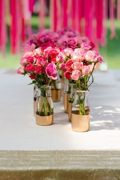 Gold dipped vases