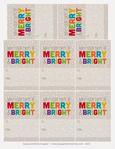 merry and bright christmas printable gift tags