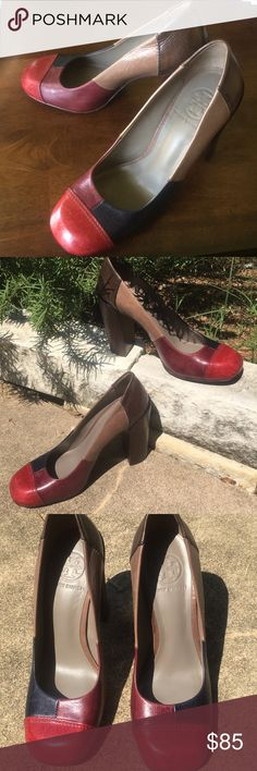 """Tory Burch Patchwork Leather Pumps, Sz 7 Just in time for fall! Patchwork leather pumps by Tory Burch, Size 7m. Feature a 4 1/4"""" heel. All Leather upper in maroon, burgundy, navy blue, tan, and brown. Round toe box. Signature logo on sole and inside the heel. Beautiful shoes, price reflects worn condition. Tory Burch Shoes Heels"""