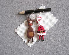 Boucles d'oreilles Père Noël et son renne boucles