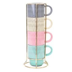 Present Time Gem Cappuccino Set Pastel Yellow, Pink And Green, Birthday Wishlist, Graphic Patterns, Beautiful Space, Dorm Decorations, Voss Bottle, Tea Party, Coffee Cups