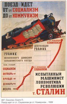 Поезд идет от ст. Социализм до ст. Коммунизм. Испытанный машинист революции товарищ Сталин (Соколов-Скаля П.). Плакаты СССР