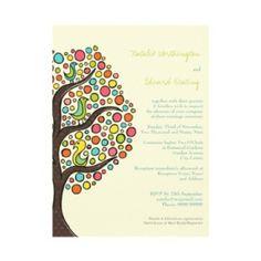 Bright Rainbow Bird Tree Custom Wedding Invitation