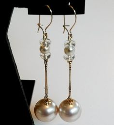 Repurposed Minimalist Glass Pearl Dangle Gold Tone by holyinspired
