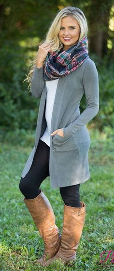 summer outfits Grey Cardigan + White Top + Black Leggings