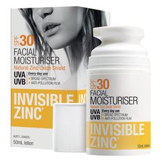 Invisible Zinc Environmental Skin Protector SPF30+ 50 mL A natural barrier sunscreen. Used daily!