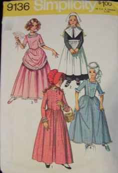 Girl's Historical Costumes Pattern. Simplicity 9136  Sz:10. Eliza Hamilton, Prairie, Puritan, Southern Belle  Pattern.  Cheapest Shipping by FashionSew on Etsy