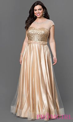 Floor Length Gold Sydney's Closet Plus Size Dress at PromGirl.com