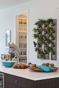 DIY vertical herb garden kitchen ideas wall wood planks mason jars