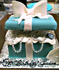 Tiffany & Co. Birthday Cake Ideas #Tiffany gift box cake #Girls #Women Made by las vegas cake designs | http://www.sassydealz.com/2014/01/tiffany-co-birthday-cake-ideas.html