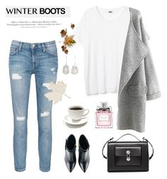 """Winter Boots"" by rever-de-paris ❤ liked on Polyvore featuring Kim Kwang, Current/Elliott, Balenciaga, Christian Dior, Niin, H&M, Winter, contest, polyvoreeditorial and winterboots"