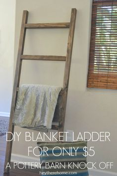 DIY pottery barn blanket ladder home decor DIY Blanket Ladder: Pottery Barn Knock Off (with video) Quilt Ladder, Diy Blanket Ladder, Blanket Storage, Escalera Quilt, Furniture Projects, Diy Furniture, At Home Projects, Barn Board Projects, Diy Living Room Furniture