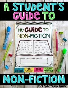 I created this resource to help introduce my students to the genre of Non-Fiction. It is a Reference Guide for students to refer to when learning about, exploring, and responding to non-fiction texts. It is perfect for students in upper elementary! Reading Resources, Reading Strategies, Teaching Reading, Learning, Guided Reading, Reading Response Journals, Reading Homework, Non Fiction Genres, Be My Teacher
