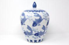 Blue and White Koi Ceramic Temple Jar Ceramic Jars, Asian Decor, Stamp Making, Pink Marble, Ginger Jars, Chinoiserie, White Porcelain, Vintage Pink, Koi
