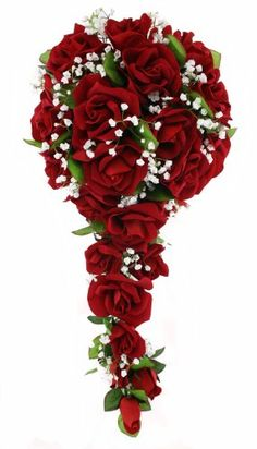 And+Bouquet+Red+Rose+White+Wedding+Flowers | Silk Flower Bouquets