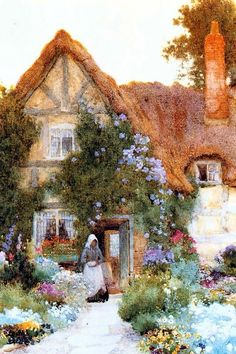 Outside the Cottage Arthur Claude Strachan (1865=1929). English Cottages ~ Blog of an Art Admirer: