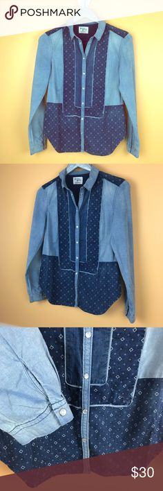 Anthropologie | Sz 6 Holding Horses Denim Shirt Anthropologie size 6 Holding Horses Denim Button down shirt. Excellent preloved condition with no flaws or signs of wear. Anthropologie Tops Button Down Shirts