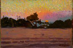 """Llewelyn Lloyd """"Paesaggio all'alba"""" 1907 -  Olio su tavola - 15,2x22,8 cm Firmato e datato in basso a destra: L. Lloyd 907"""