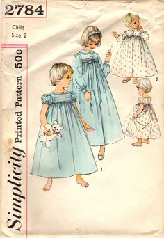 Simplicity 2784 Vintage Sewing Pattern Toddler's Peignoir Set Nightgown Robe Size 2 - My favorite children's fashion list Vintage Dresses, Vintage Outfits, Vintage Fashion, Vintage Clothing, Vintage Items, Lingerie Patterns, Clothing Patterns, Historical Clothing, Silhouette