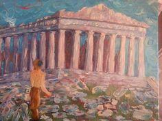 Satyr Temple, 16x20 in, oil on canvas, by Leona Bushman
