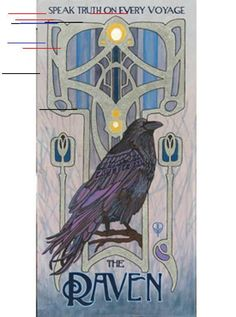 Art Nouveau Raven – Seek Truth on Every Voyage: Matted Giclée Art Print by The Bungalow Craft by Julie Leidel (Arts & Crafts Movement) Art Nouveau Raven – Seek Truth on Every Voyage: Matted Giclée Art Print by The Bungalow Craft by Jul Art Nouveau Tattoo, Tatuaje Art Nouveau, Mucha Art Nouveau, Tattoo Art, Art Nouveau Poster, Design Art Nouveau, Motif Art Deco, Arts And Crafts Movement, Wpa National Park Posters
