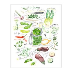 """Pickle recipe print. Watercolor illustrated recipe. Vertical print. Archival giclee reproduction print. Signed with pencil. Printed on fine art """" BFK Rives """" hot-pressed paper, smooth surface, 140 lb,"""