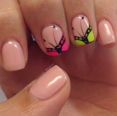 Bright butterfly nail art design