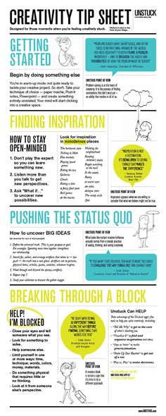 from Unstuck: Creativity Tip Sheet. Downloadable and printable. Great for artists!!