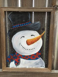 Snow man, original hand painting ,Wood Frame, Recycled  16X20 Inches this Screen and the wood frame hand painted and ready for you. it can be to
