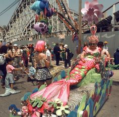Coney Island Mardi Gras Parade, - Photos - Coney Island Mermaid Parade through the years Mermaid Parade, Mardi Gras Parade, Welcome Summer, Mermaid Diy, Burlesque Costumes, Summer Solstice, Coney Island, Two Girls, Girl Poses