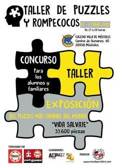 Taller de puzzles y rompecocos. Semana del 13 al 17 de abril de 2015 en el colegio Villa de Móstoles.  Más info: www.puzzlemania.net #puzzle #competicionpuzzle #rompecabezas