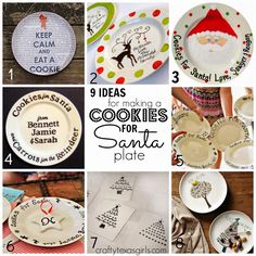 Great craft for a group- large or small. DIY Cookies for Santa Plate using Dollar Tree Plates and Sharpies. Such a fun Christmas activity. @craftytexasgirls.com #cookiesforsanta #diyplate #sharpieplate