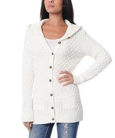 Look at this Cream Hooded Cardigan on #zulily today!